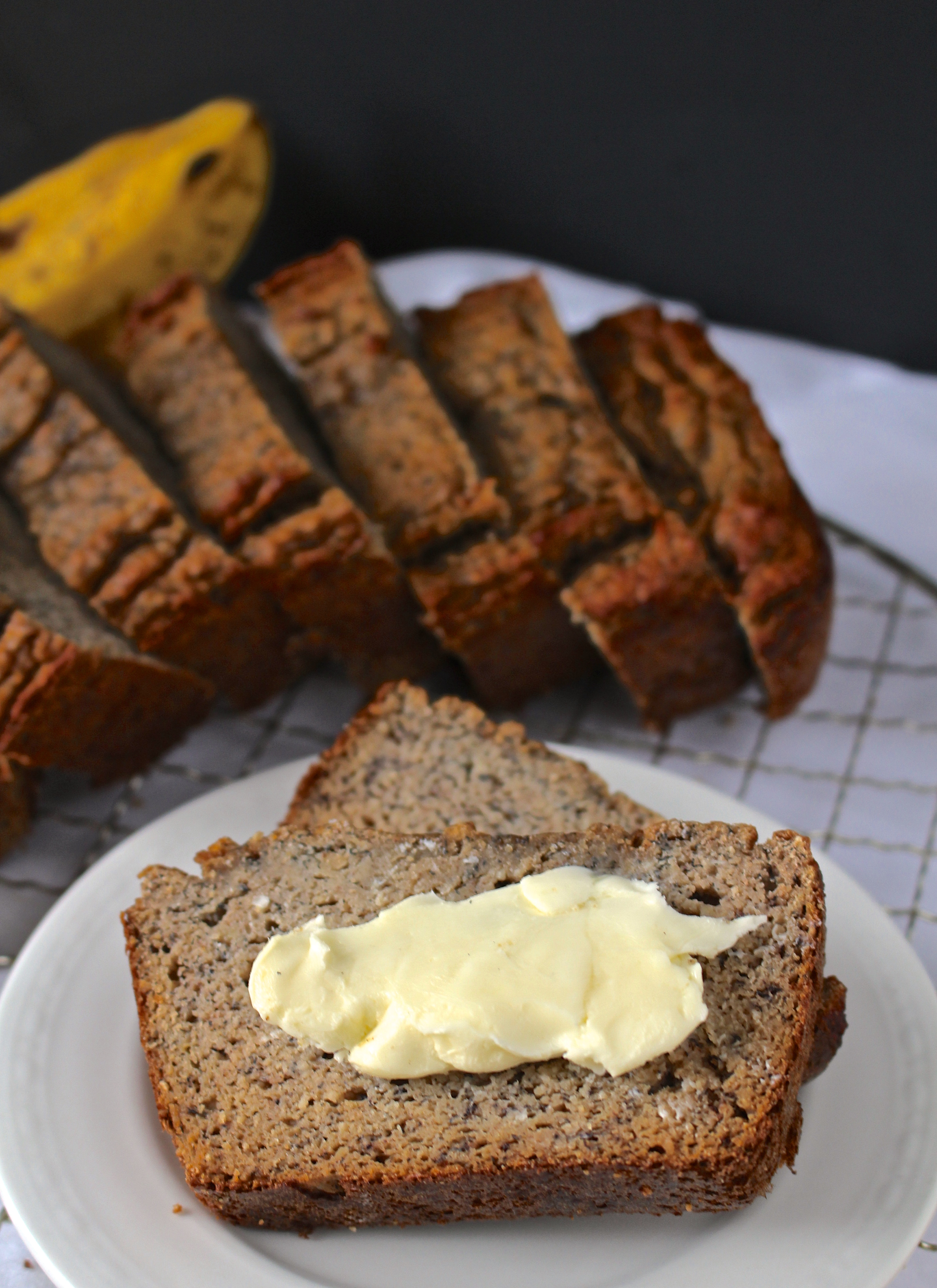 This Paleo Banana Bread is so simple to make- using only a few ingredients, but tastes incredible! Perfect for breakfast.
