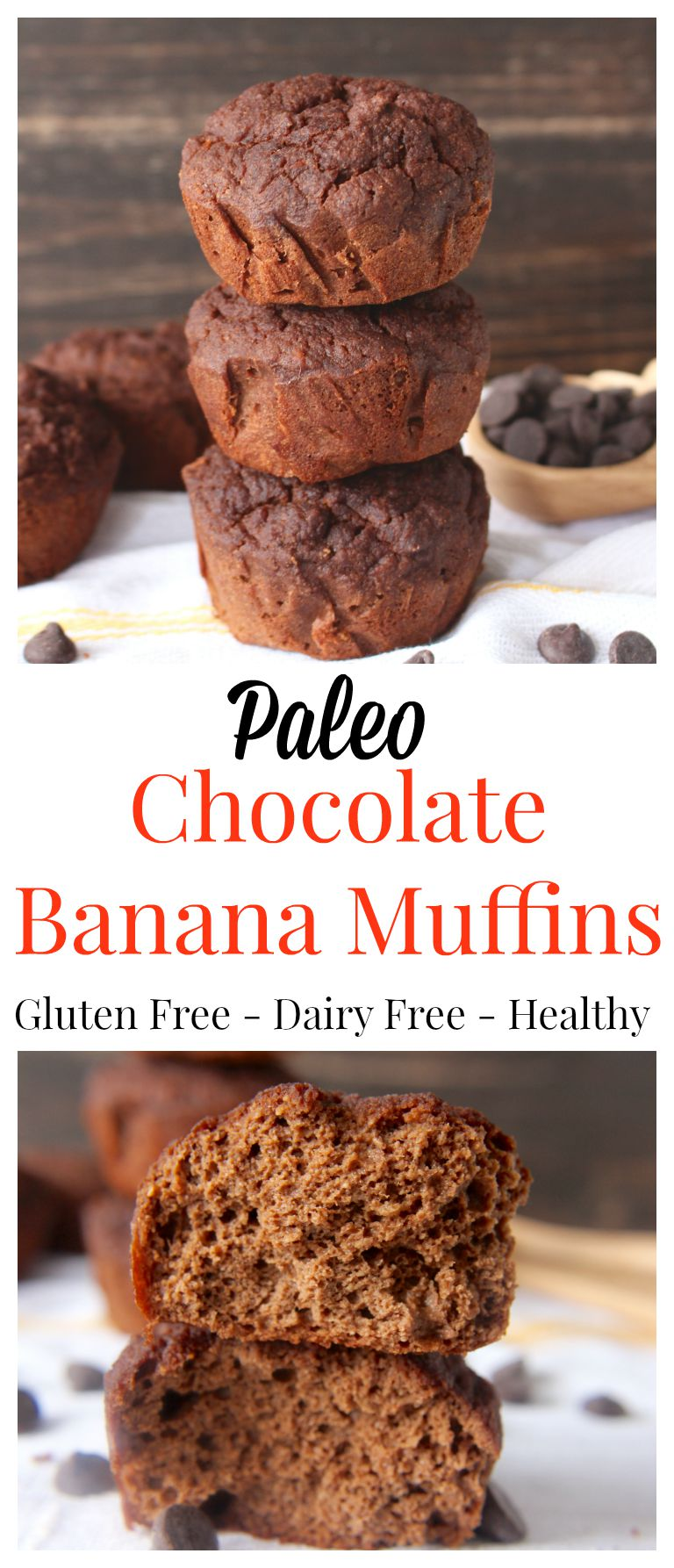 Paleo Chocolate Banana Muffins