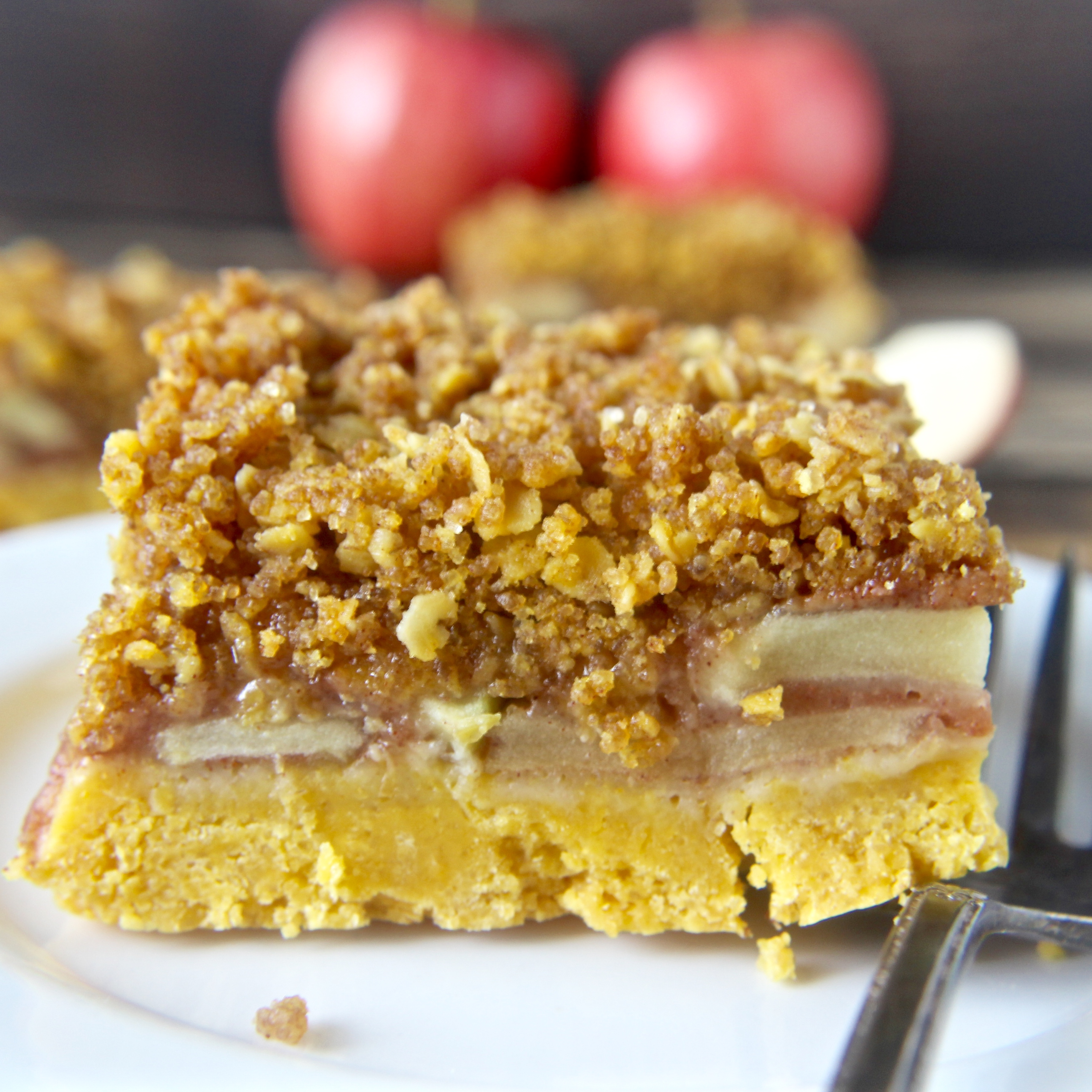 Coconut Oil Apple Crumb Bars- easy and so delicious! Vegan and dairy free!