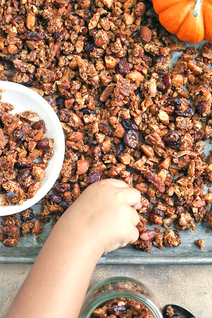 This Paleo Pumpkin Granola is healthy, easy, and so delicious!! Packed with nuts, coconut, and pumpkin and sweetened only with real maple syrup. This makes the perfect breakfast or snack. Gluten free, dairy free, and naturally sweetened.