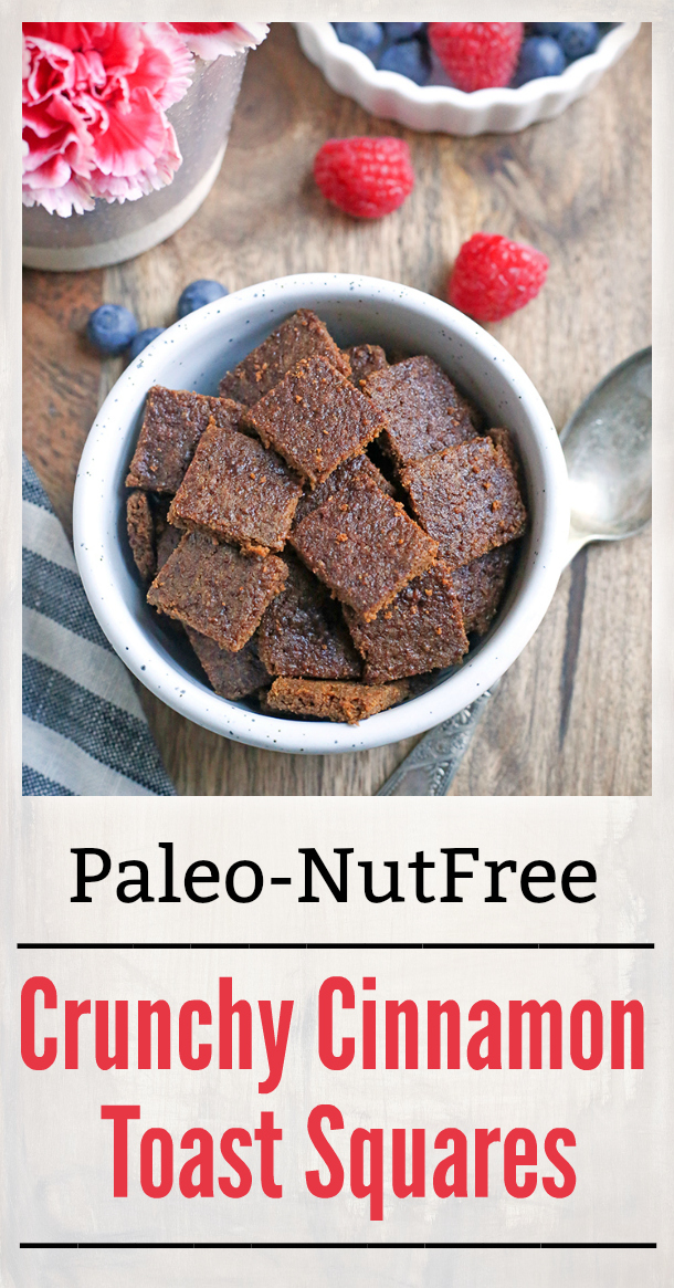 These Crunchy Cinnamon Toast Squares are a healthy alternative to the popular cinnamon cereal. Paleo, gluten free, and nut free and sure to satisfy your cereal craving!