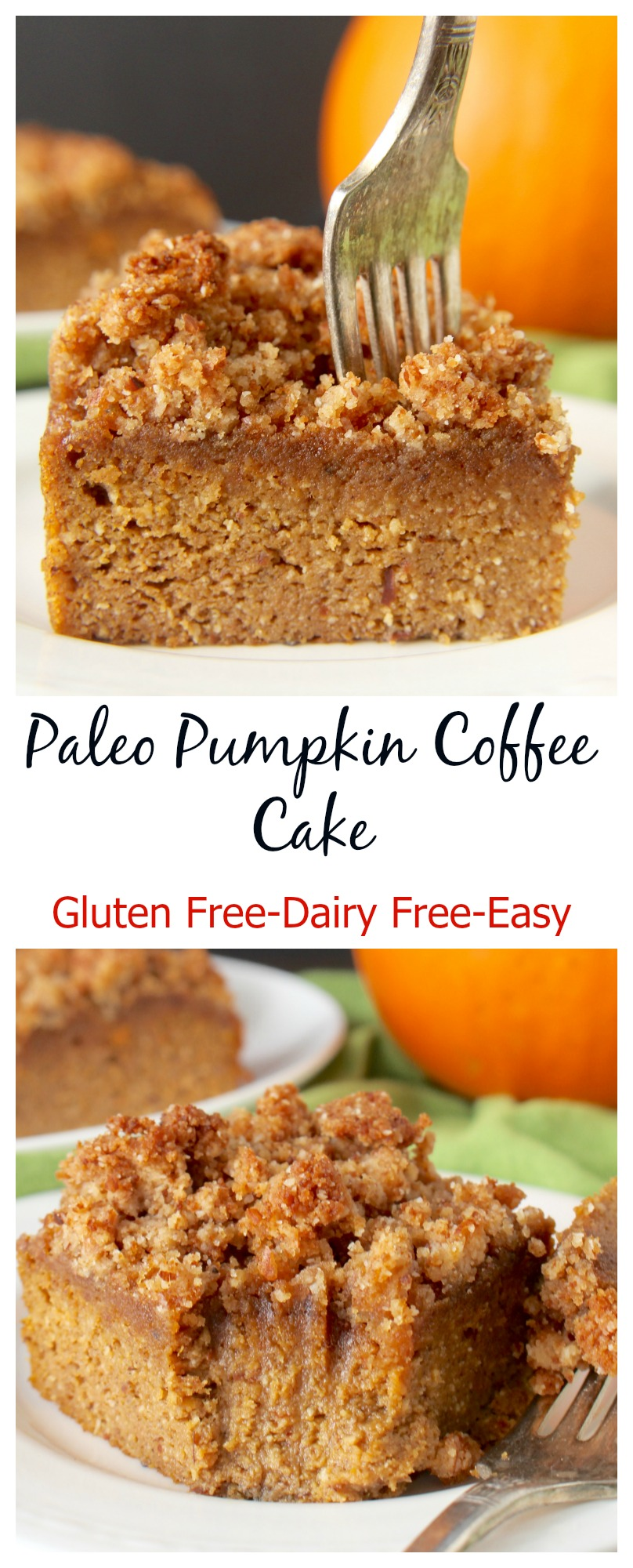 This Paleo Pumpkin Coffee Cake is the perfect fall dessert. A tender cake topped with an irresistible crumb topping. Gluten free, dairy free, and naturally sweetened.