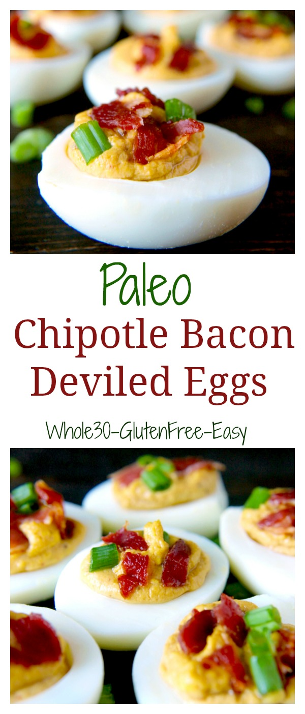 These Paleo Chipotle Bacon Deviled Eggs are the perfect appetizer, snack, or meal! Easy to make and the most delicious eggs you'll ever have! Whole30, gluten free, and low carb.