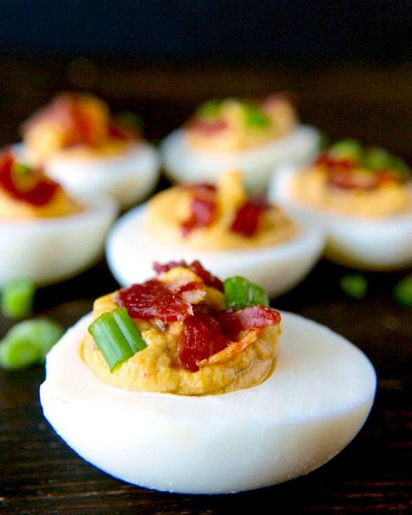 Paleo Chipotle Bacon Deviled Eggs