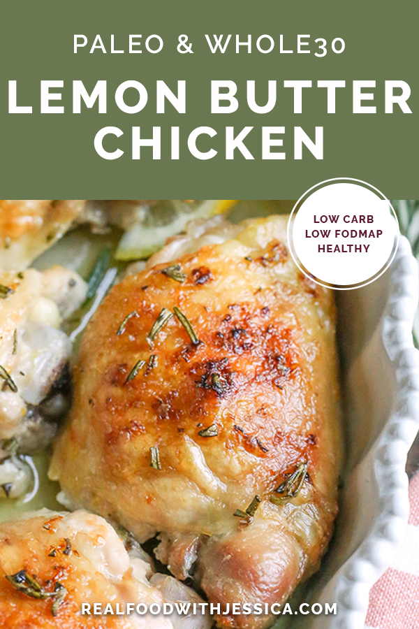 This Paleo Lemon Butter Chicken is easy to make, is full of fresh flavors, and is so delicious! Gluten free, dairy free, and Whole30.