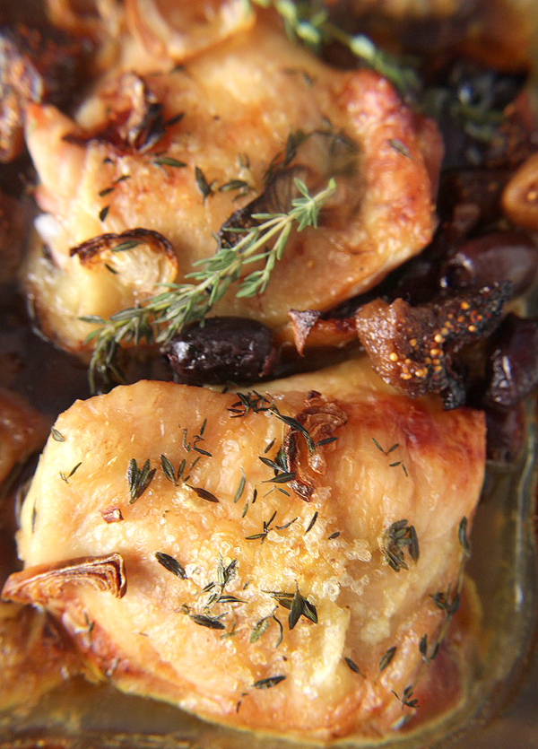 Paleo Roasted Chicken with Fig and Olives