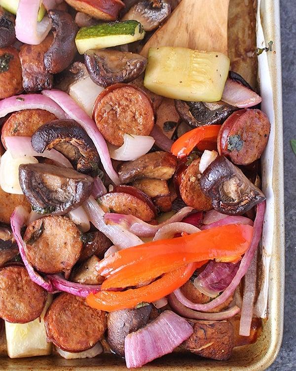 Roasted Veggie Medley with Sausage (paleo)