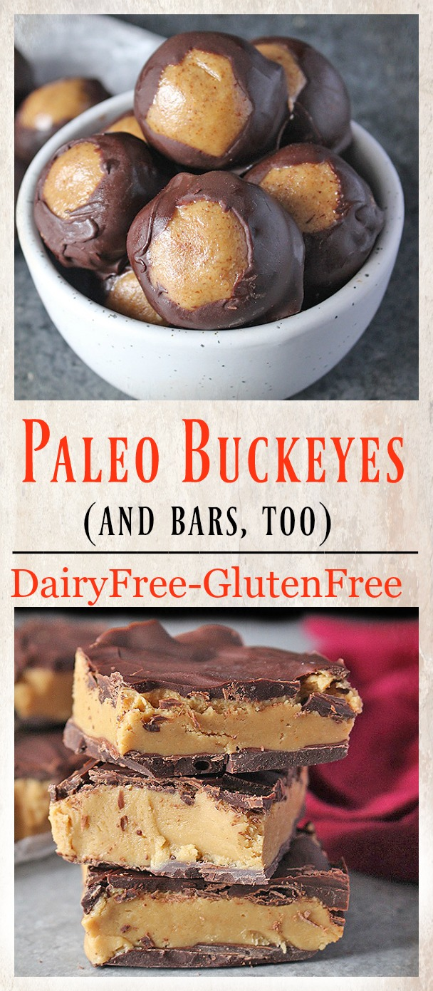 These Healthy Paleo Buckeyes are naturally sweetened and are gluten free and dairy free. A classic treat, made over to be healthier and still just as delicious!