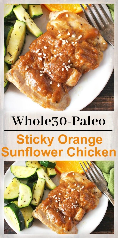 Paleo Sticky Orange Sunflower Chicken
