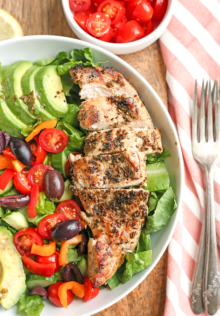 This Paleo Whole30 Greek Chicken Salad is loaded with so much flavor and is a complete meal in a bowl! Healthy, low FODMAP, low carb and incredibly delicious!