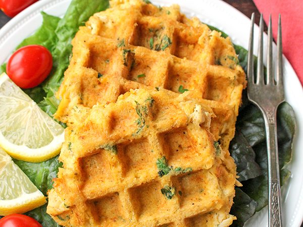 Paleo Whole30 Crab Cake Waffles