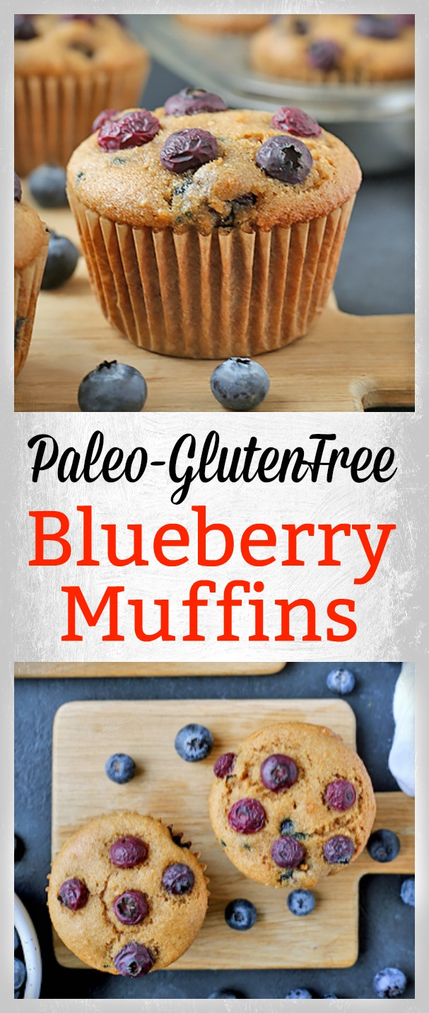 These Easy Paleo Blueberry Muffins are so quick and easy! They are super moist, packed with juicy blueberries, and make a great breakfast. Gluten free, dairy free, and naturally sweetened.