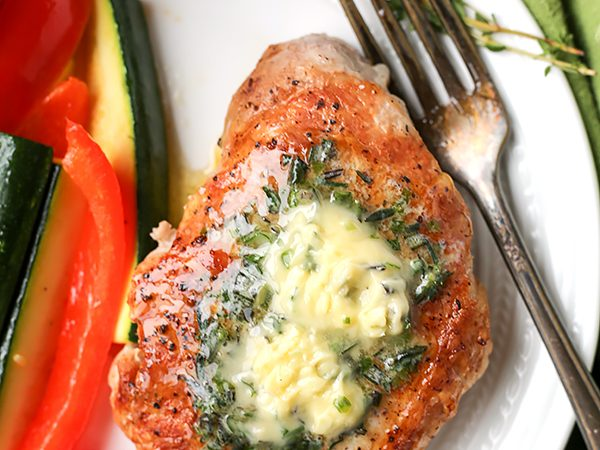 Paleo Whole30 Pork Chops with Herbed Butter