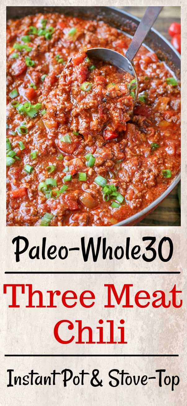This Paleo Whole30 Three Meat Chili is packed with flavor! Sausage, bacon, and beef combine to make a hearty and delicious meal. Gluten free, dairy free and sure to become a family favorite.