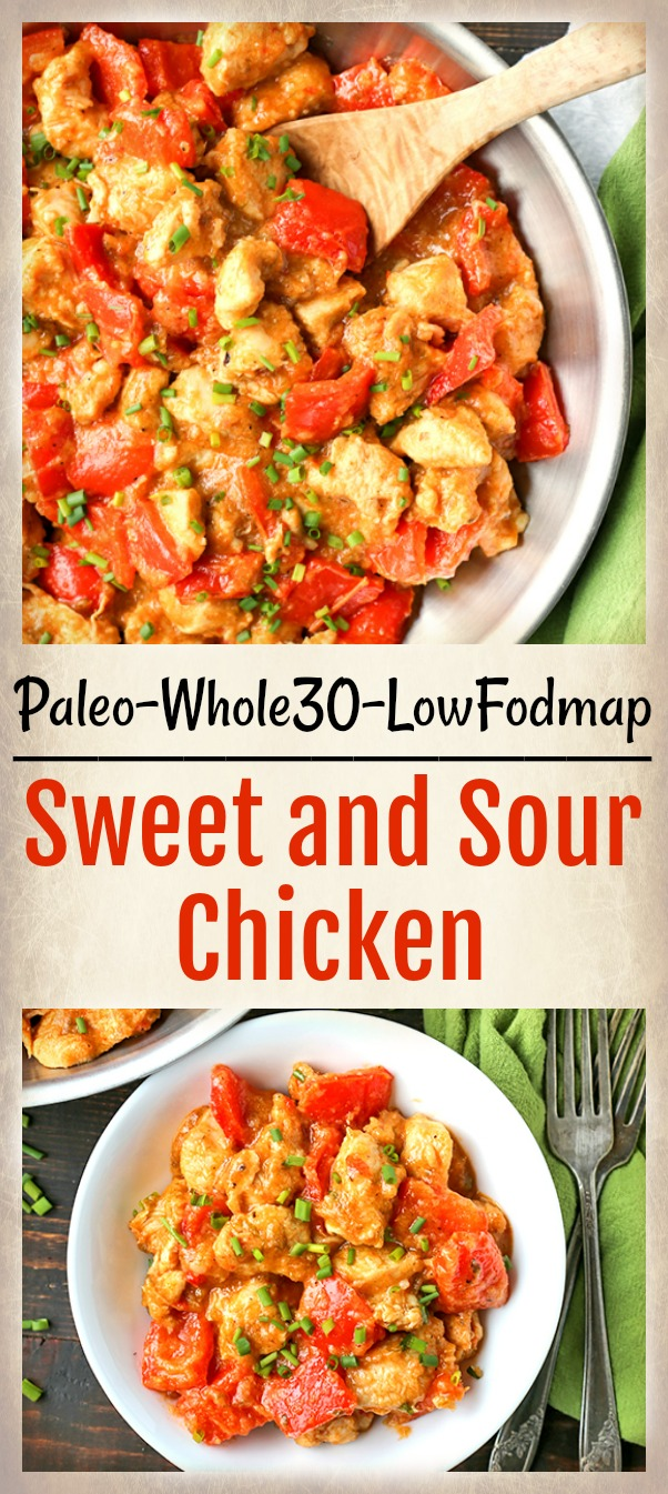 This Paleo Whole30 Sweet and Sour Chicken is a meal the whole family will love. A homemade sauce that is sweetened with only fruit and comes together quickly. A heathy, easy meal that is gluten free, dairy free, and low fodmap.