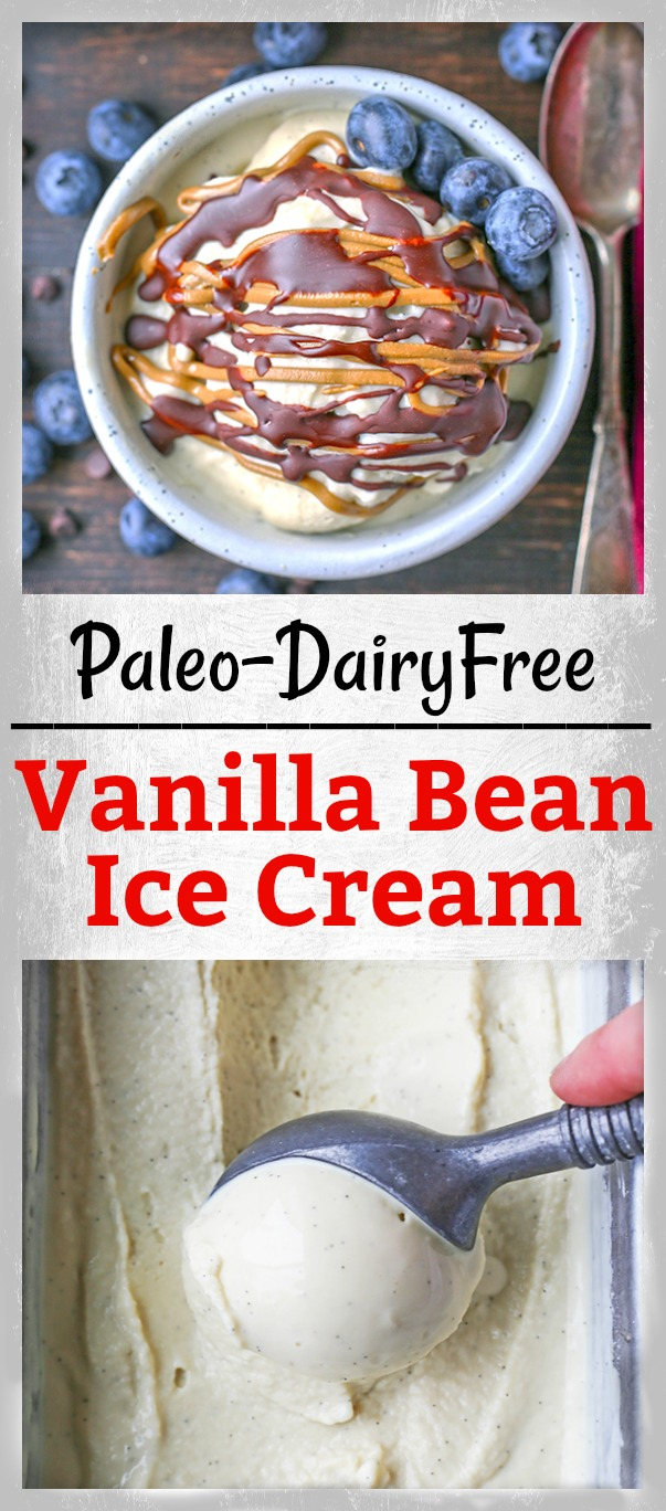 This Paleo Vanilla Bean Ice Cream is creamy, sweet, and so perfect for summer! Only 5 ingredients and ready to be topped with your favorite toppings. Gluten free, dairy free, and naturally sweetened.