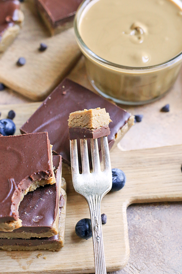 These Paleo No-Bake Nut-Free SunButter Chocolate Bars are so easy to make and totally irresistible. Soft, melt-in-your-mouth good and made healthy! They only contain 6 ingredients and are dairy free, gluten free, egg free, and vegan!