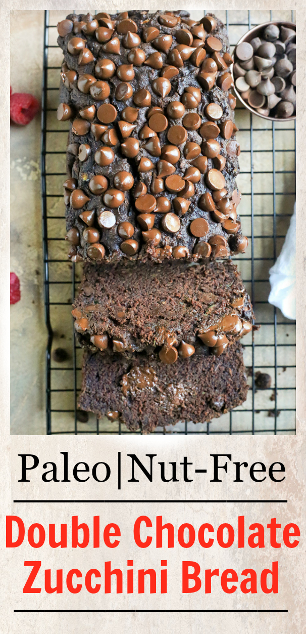 This Paleo Nut-Free Double Chocolate Zucchini Bread is rich, moist, and so chocolatey! It tastes like a decadent dessert, but made healthy! Gluten free, dairy free, and naturally sweetened.