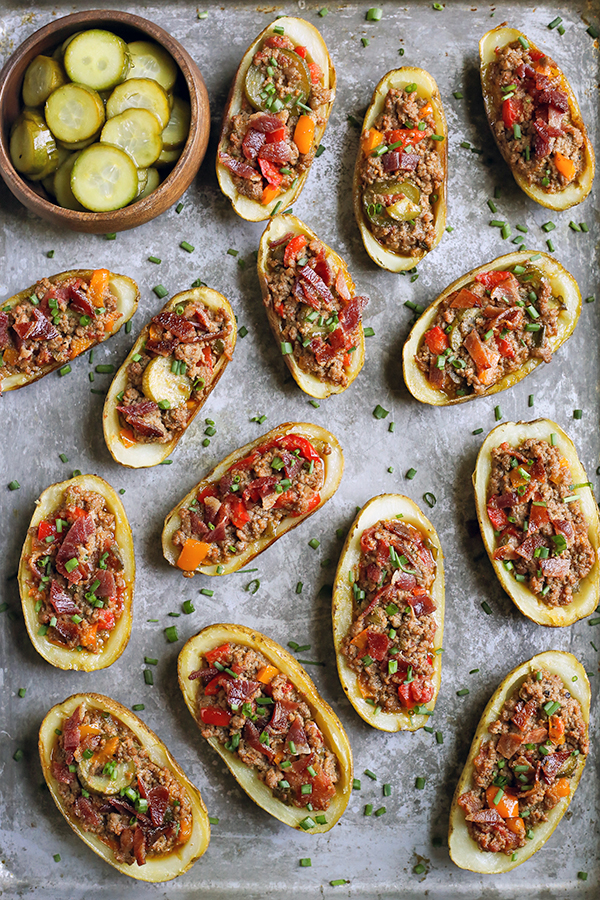 These Paleo Whole30 Bacon Hamburger Potato Skins have all the flavors of a juicy burger, but packed in a crispy potato skin. Such a fun meal that everyone will love. They are gluten free, dairy free, and low fodmap.