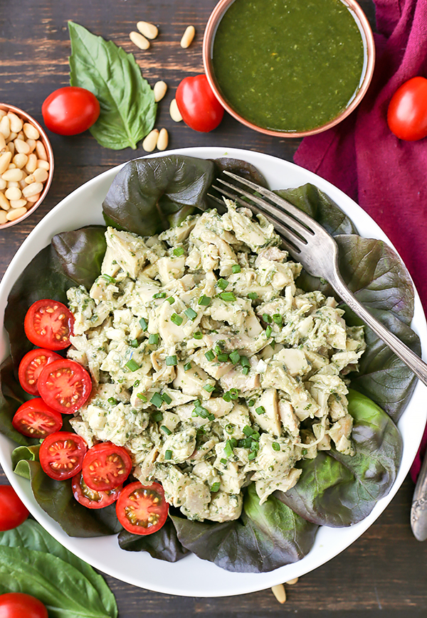 This Paleo Whole30 Pesto Chicken Salad is an easy and delicious meal that is healthy and filling. Just 3 simple ingredients combined to make a flavorful meal. Gluten free, dairy free, low fodmap, and low carb.