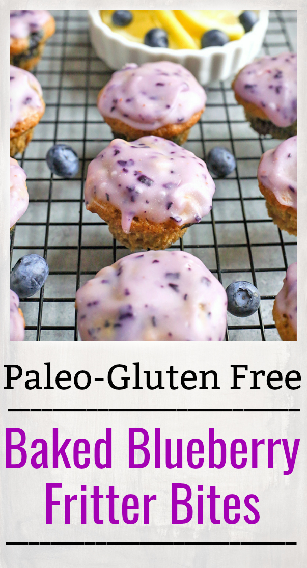 These Paleo Baked Blueberry Fritter Bites are easy to make and so delicious! Small, bite-size muffins covered in a blueberry glaze. They are gluten free, dairy free, and naturally sweetened.