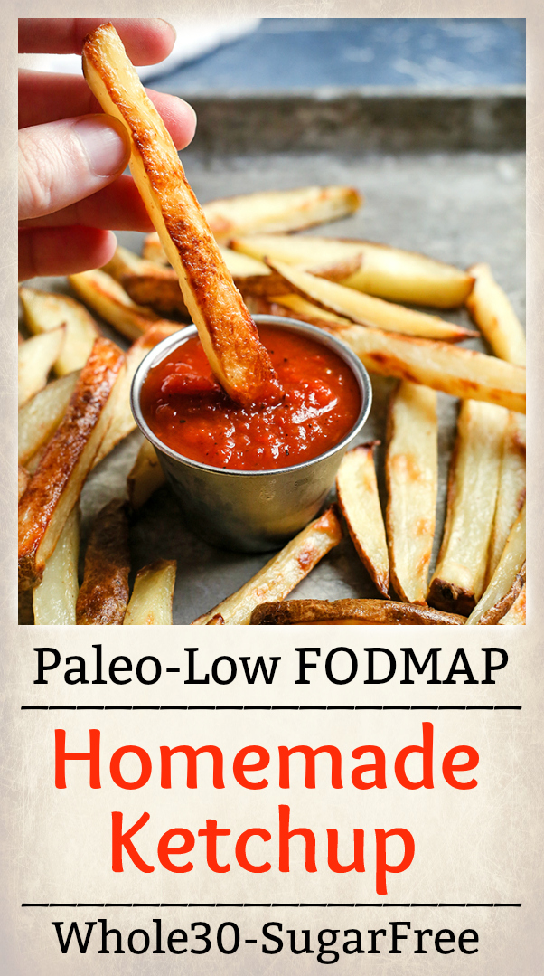 This Paleo Low FODMAP Homemade Ketchup is so simple and delicious! It has only 5 ingredients, and is ready in 20 minutes. Great for dipping or used in recipes. Whole30, sugar free, low carb, and so flavorful.