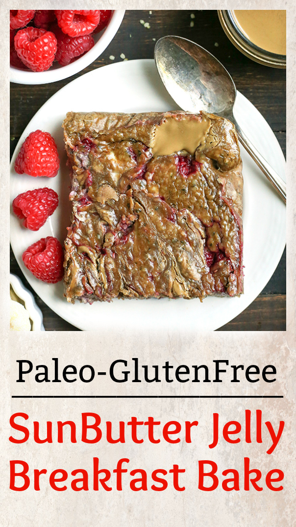This Paleo SunButter Jelly Breakfast Bake has all the classic pbj flavors, but grain and sugar free. It is a great make ahead breakfast that is satisfying and delicious. Gluten free, dairy free, nut free, with an egg free option.