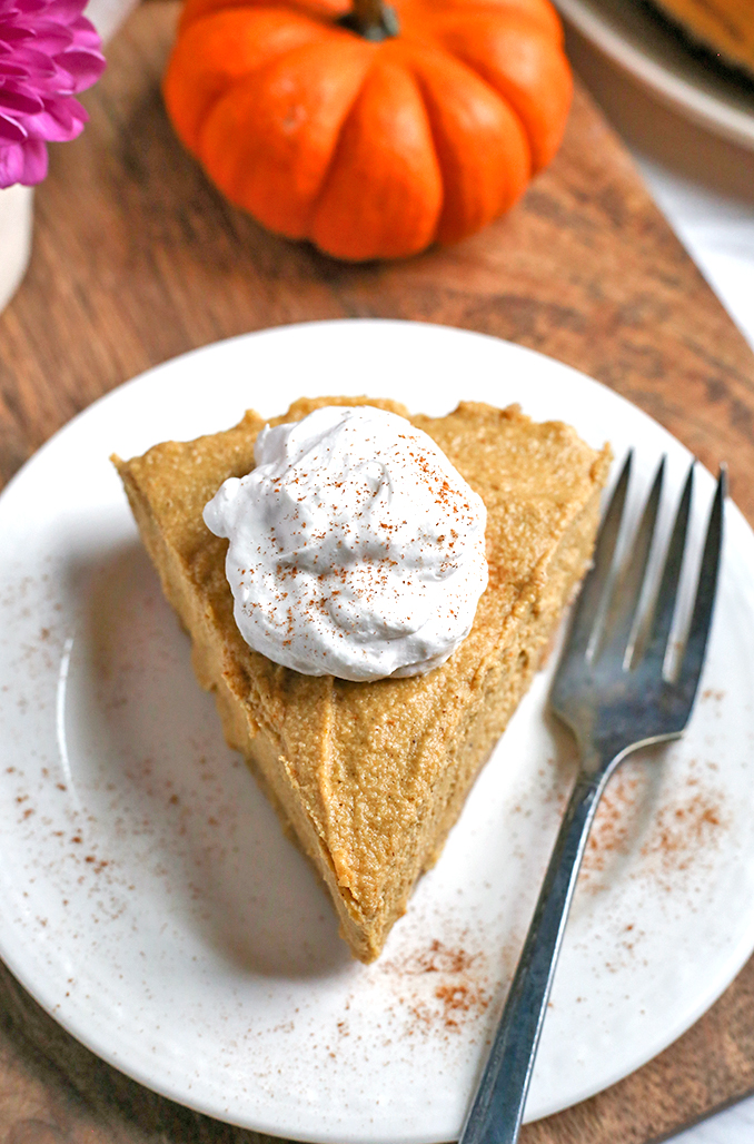 This Paleo Vegan Pumpkin Cheesecake is super creamy with a graham cracker-like crust and a filling made with cashews. It is gluten free, dairy free, vegan, naturally sweetened and almost completely no-bake. A dessert everyone will love.
