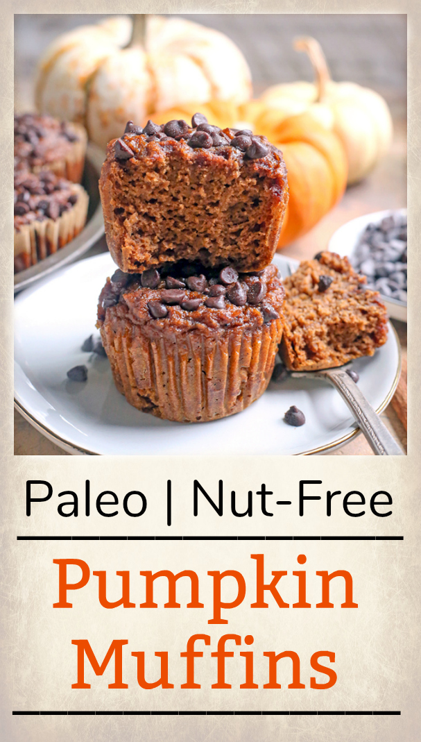 These Paleo Nut-Free Pumpkin Muffins are a simple and healthy treat. They are gluten free, dairy free, and naturally sweetened.