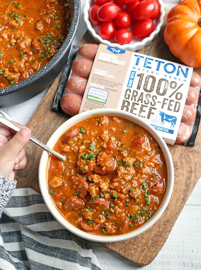 This Paleo Pumpkin Chili and Spider Hot Dogs are two individual meals that both kids and adults will love. The chili is Whole30 compliant and the hot dogs are a fun paleo treat.