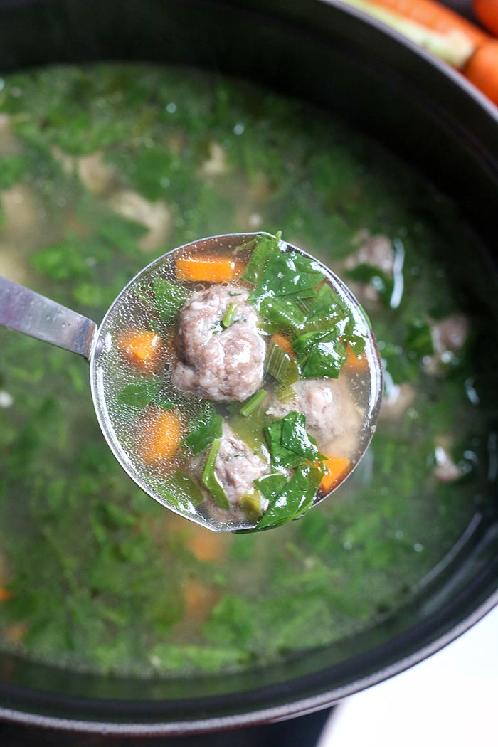 This Paleo Whole30 Italian Wedding Soup is hearty, flavorful, and easy! Tender, juicy meatballs in a veggie filled broth that will sure to become a family favorite. Gluten free, dairy free, egg free, and low fodmap.