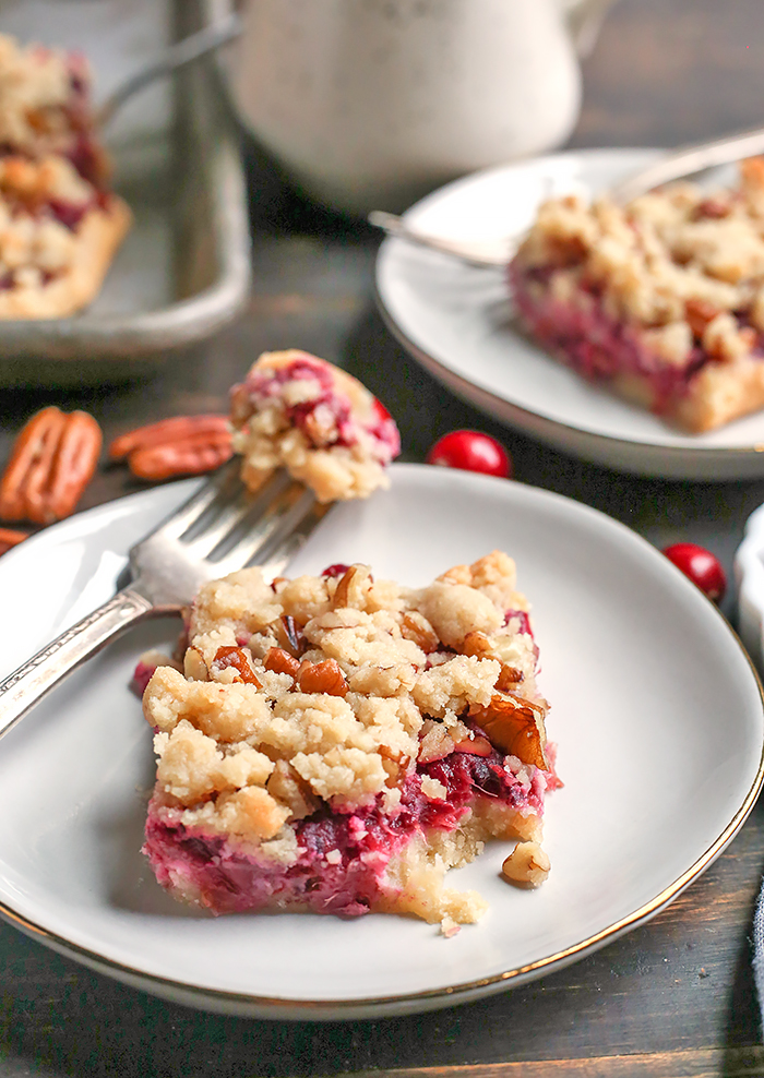 These Paleo Vegan Cranberry Crumb Bars are simple to make and so delicious! A shortbread crust, thick layer of cranberry sauce and then a delicious crumb topping. They are gluten free, dairy free and naturally sweetened.