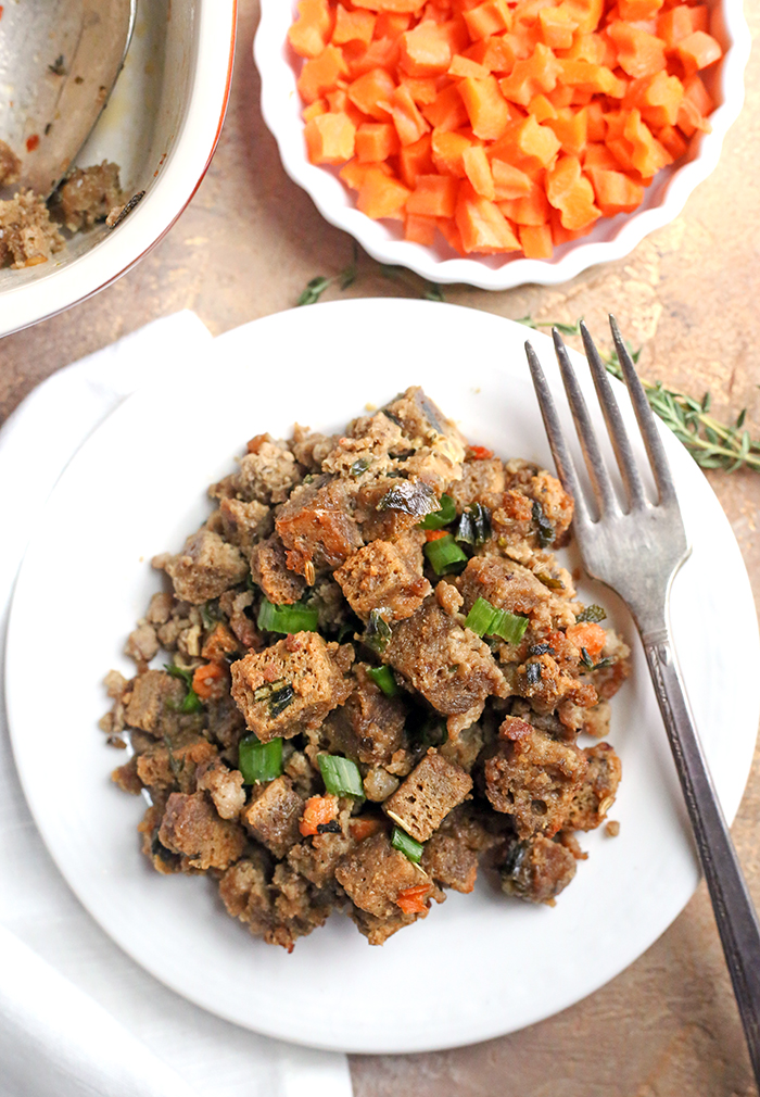 This Paleo Low Carb Sausage Stuffing is hearty, flavorful, and no one will know it's healthy! It has all the flavors of traditional stuffing, but made nut free, gluten free, dairy free, and low FODMAP!
