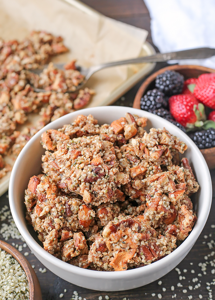 This Paleo Caramel Apple Granola is easy to make and is such a great snack. The sweet cinnamon, chewy apples, and crunchy seeds combine to make a tasty treat. It's gluten free, dairy free, naturally sweetened and vegan.