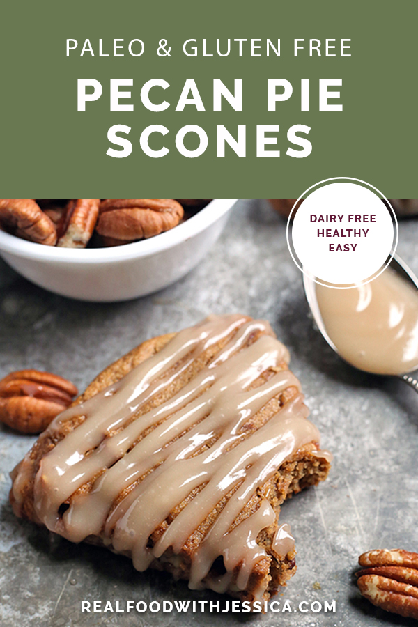 These Paleo Pecan Pie Scones are a fun treat that are easy to make and so delicious! Tender, not overly sweet, and pairs great with a cup of coffee. They are gluten free, dairy free, and naturally sweetened.