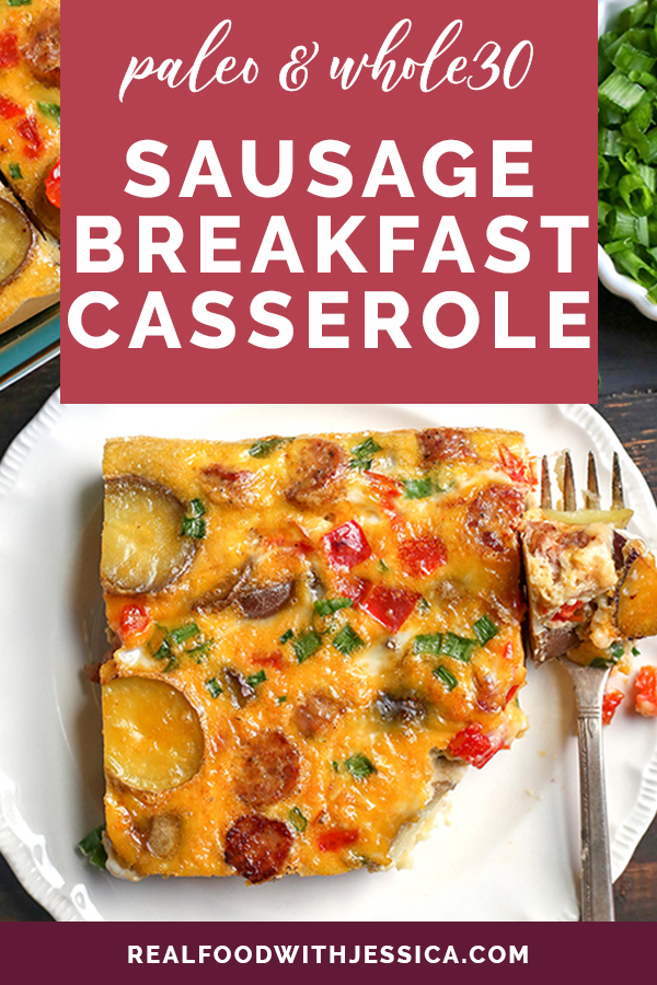 This Paleo Whole30 Sausage Potato Breakfast Casserole is the perfect make ahead meal. It's hearty, filling, and delicious! Gluten free, dairy free, and low FODMAP.