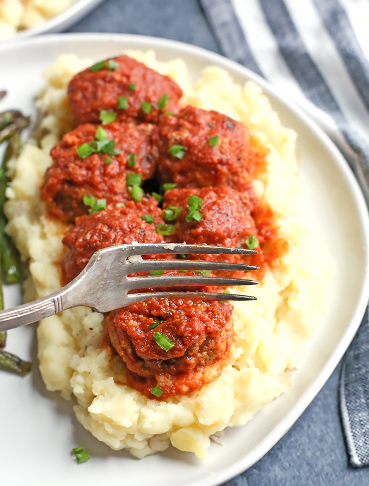 These Paleo Whole30 Barbecue Meatballs are made in the Instant Pot which makes the quick and juicy. They are cooked in a homemade barbecue sauce that is flavorful and easy. Gluten free, dairy free, nut free, egg free, and low FODMAP.