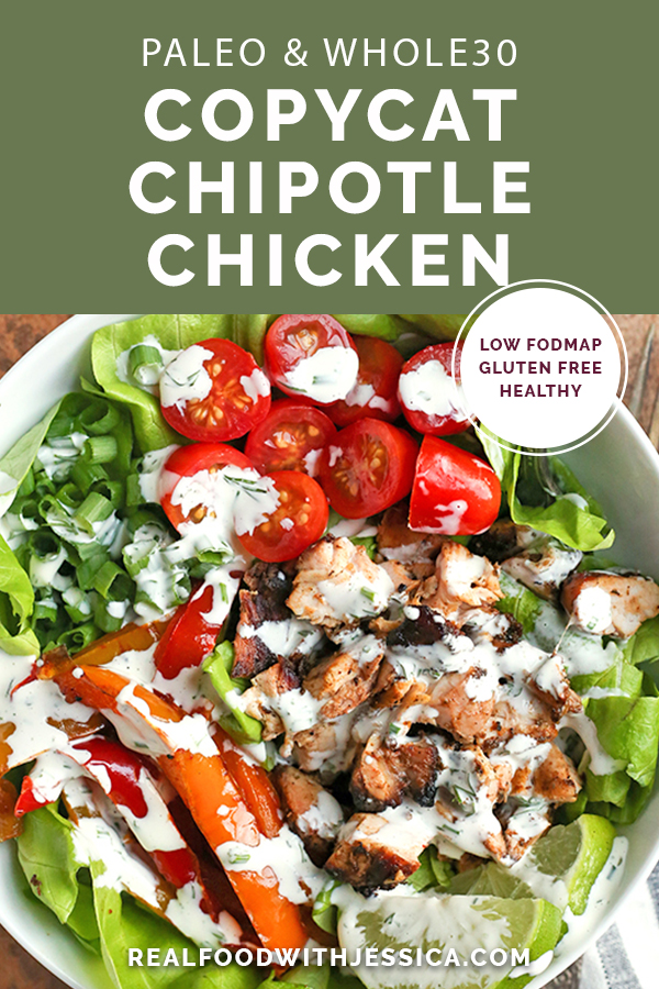 This Paleo Whole30 Copycat Chipotle Chicken is so flavorful and moist. You will love this homemade version that is gluten free, dairy free, low carb, and low FODMAP.
