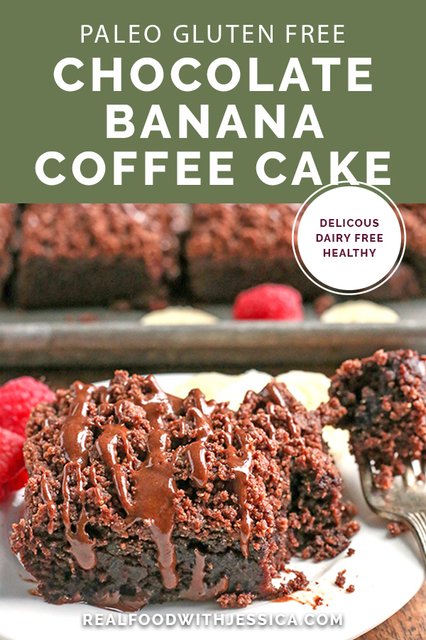 This Paleo Chocolate Banana Coffee Cake is rich, decadent and irresistible. It makes a great breakfast or dessert and is gluten free, dairy free, and naturally sweetened.
