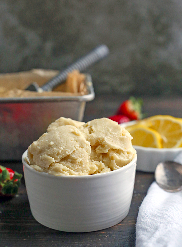 This Paleo Lemon Zest Ice Cream is tangy, creamy, and so delicious! Easy to make and dairy free, naturally sweetened and low FODMAP.