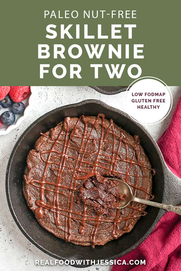 This Paleo Nut Free Skillet Brownie For Two is such a great quick dessert perfectly portioned for 2 people. Rich, sweet, and healthy! They are gluten free, dairy free, and naturally sweetened.