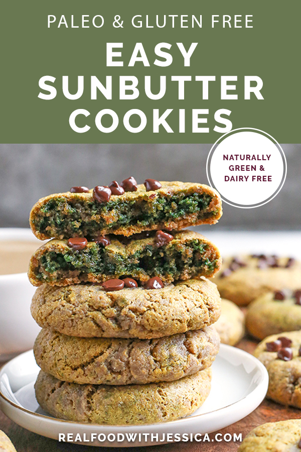 These Easy Paleo SunButter Cookies are naturally green with no hidden veggies. With only 6 ingredients they are easy and delicious! Gluten free, dairy free, nut free, and naturally sweetened.