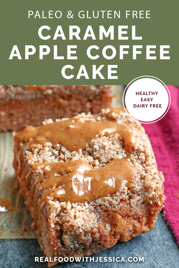 This Paleo Caramel Apple Coffee Cake is tender, moist, with the best crumb topping and a sweet drizzle of caramel. It's gluten free, dairy free, naturally sweetened and so delicious!