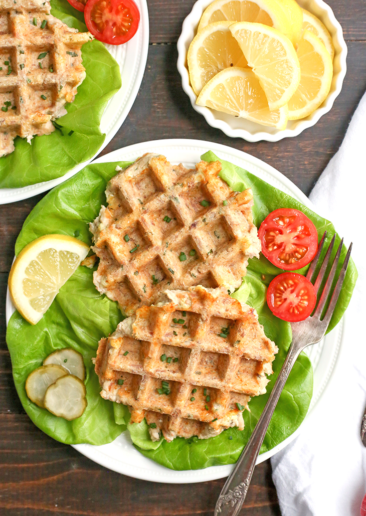 These Paleo Whole30 Tuna Cake Waffles are quick, easy, and healthy! Made in just minutes and gluten free, dairy free, nut free, and low FODMAP.