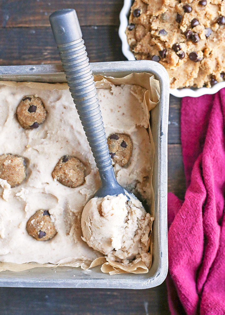 This Paleo Cookie Dough Ice Cream is rich, creamy, and so delicious. Vanilla dairy free ice cream with chunks of edible cookie dough that is vegan, nut free, egg free, gluten free, and naturally sweetened.
