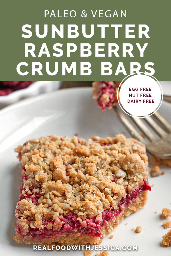 These Paleo Vegan SunButter Raspberry Crumb Bars are nut-free and so delicious! A shortbread crust, fresh raspberry filling, and simple crumb topping. They are gluten free, egg free, dairy free, and naturally sweetened.