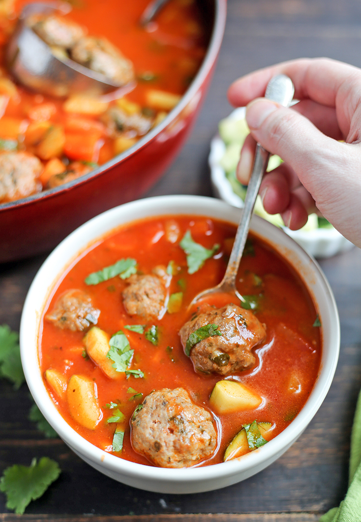 This Paleo Whole30 Mexican Meatball Soup is flavorful, packed with veggies, and so delicious! Gluten free, dairy free, egg free and nut free.
