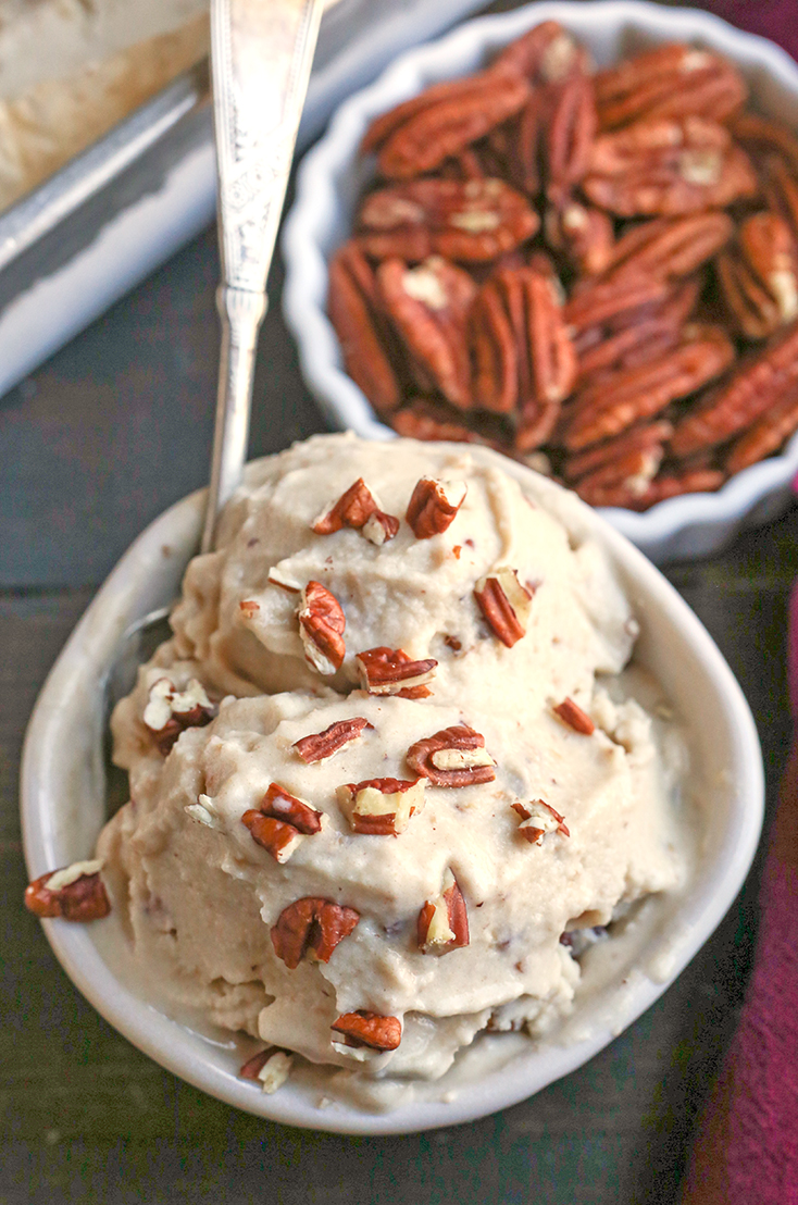 This Paleo Butter Pecan Ice Cream is rich, sweet and packed with buttery pecans. The perfect summer treat! Dairy free, gluten free, and naturally sweetened.