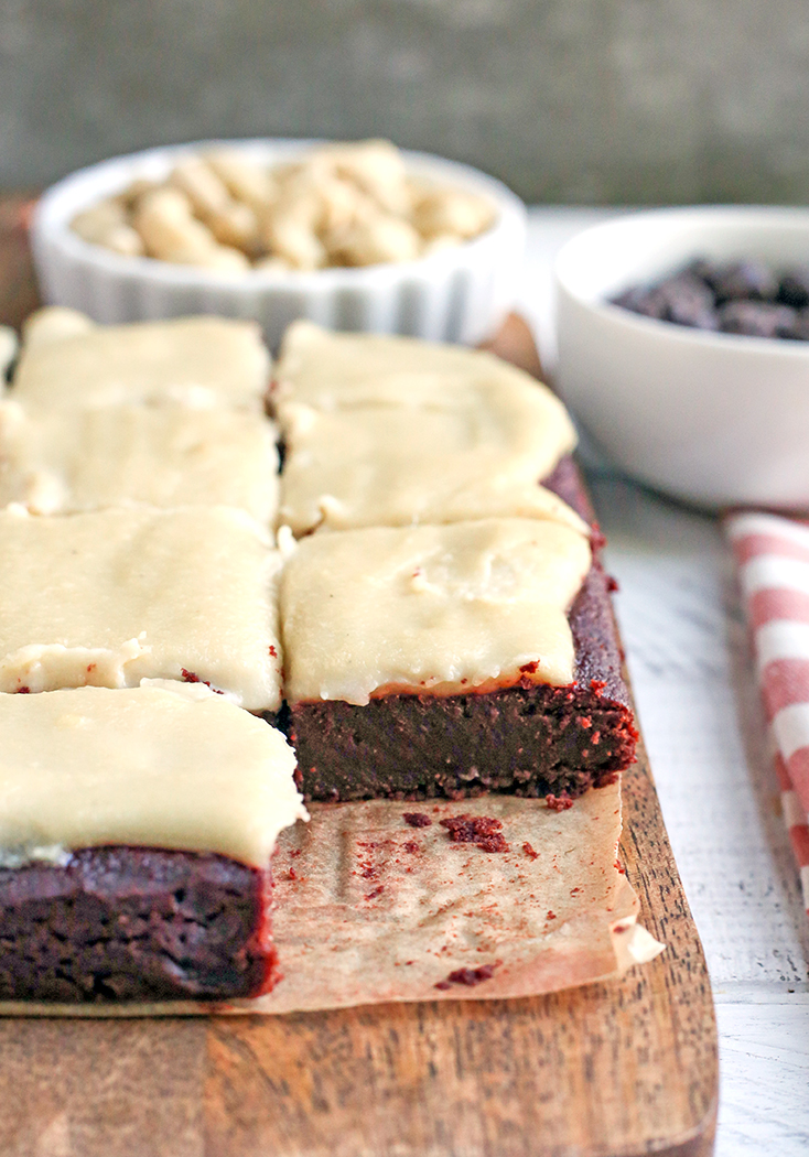 These Paleo Red Velvet Brownies are rich and have a sweet dairy free cheesecake topping. They are so delicious and gluten free, dairy free, naturally sweetened with a nut free option.
