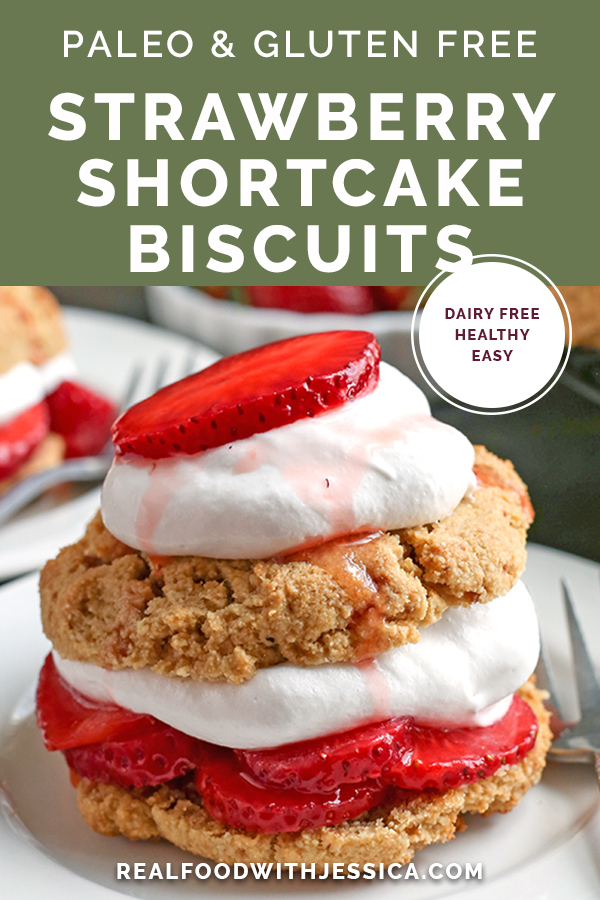 These Paleo Strawberry Shortcake Biscuits are easy to make and such a great summer dessert. Gluten free, dairy free, and naturally sweetened.